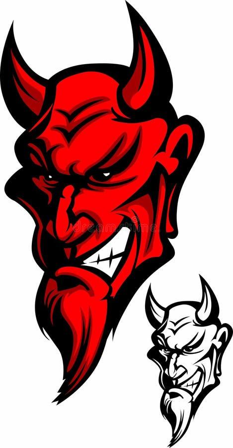 Teufel-Maskottchen-Zeichen stock abbildung