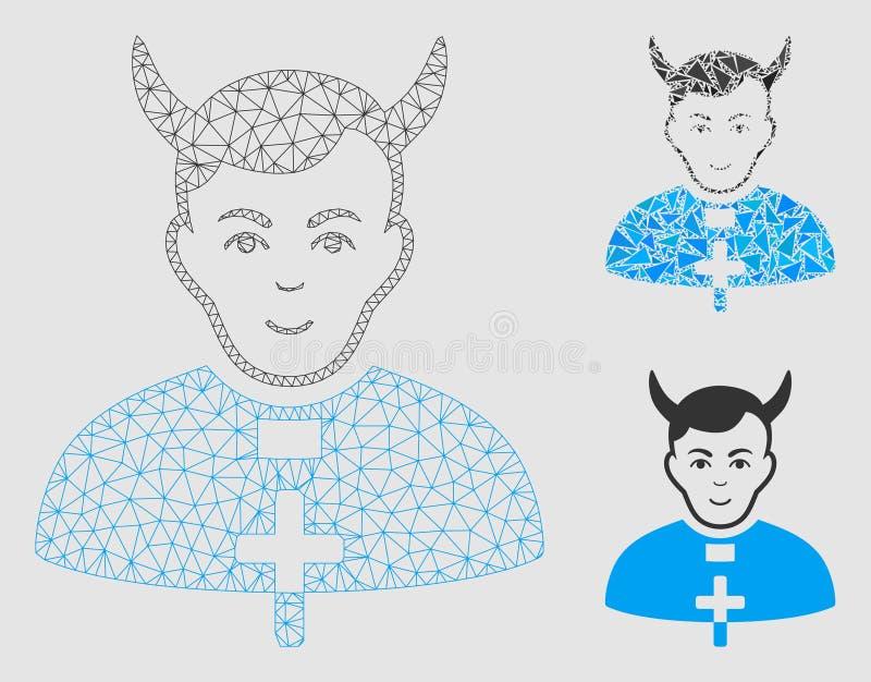 Teufel-Priester Vector Mesh Carcass Model und Dreieck-Mosaik-Ikone vektor abbildung