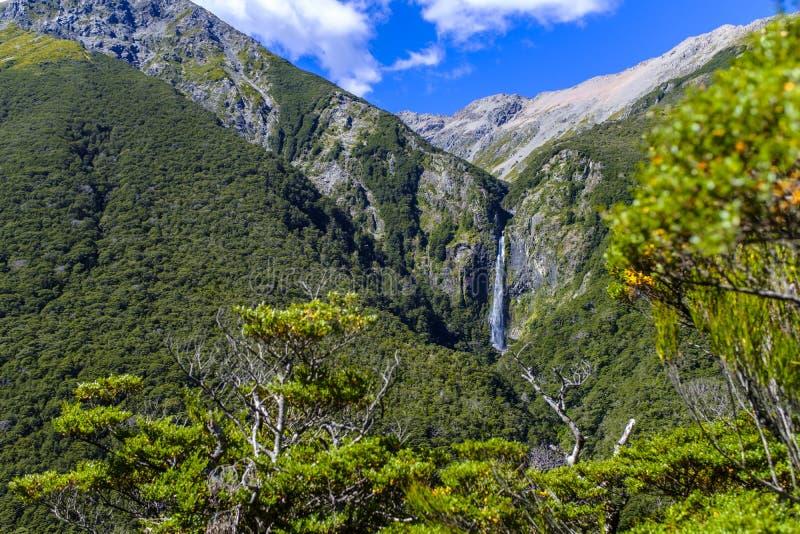 Teufel Punchbowl-Wasserfall in Neuseeland stockfotografie