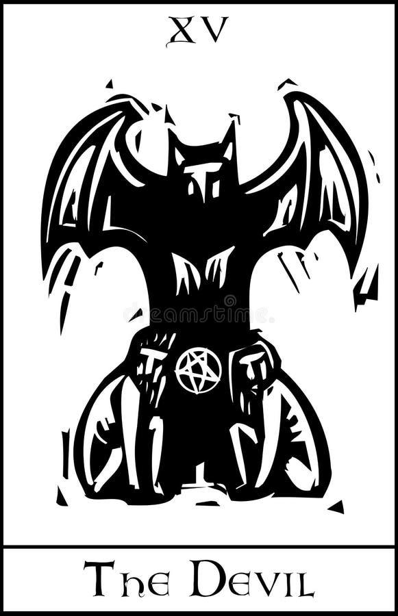 Teufel Tarot Karte stock abbildung