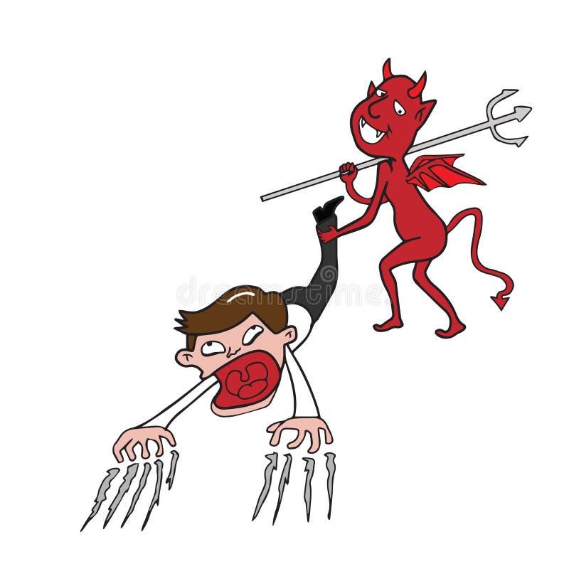 Teufel und Geschäftsmann lizenzfreie abbildung
