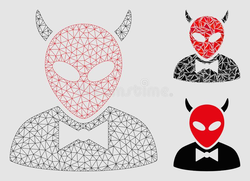 Teufel-Vektor-Maschen-2D Modell-und Dreieck-Mosaik-Ikone stock abbildung
