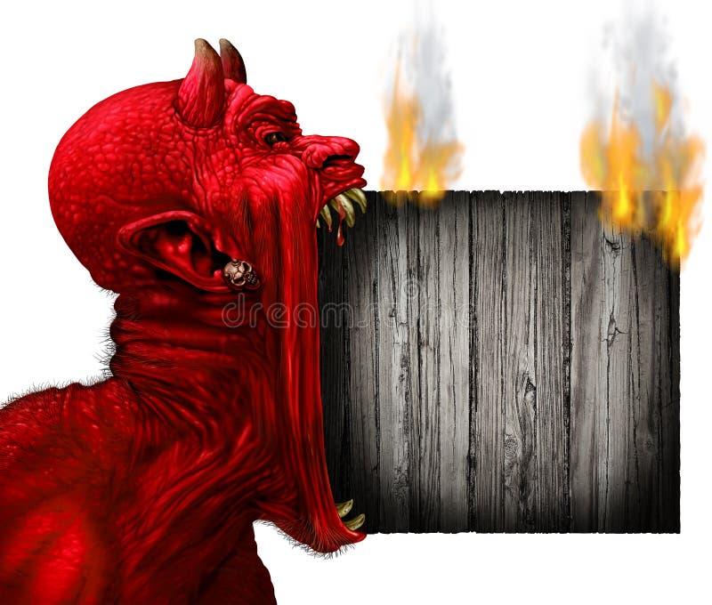 Teufel-Zugzielanzeiger lizenzfreie abbildung