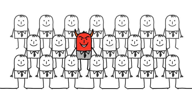 Teufelmann in einer Gruppe Geschäftsmännern stock abbildung