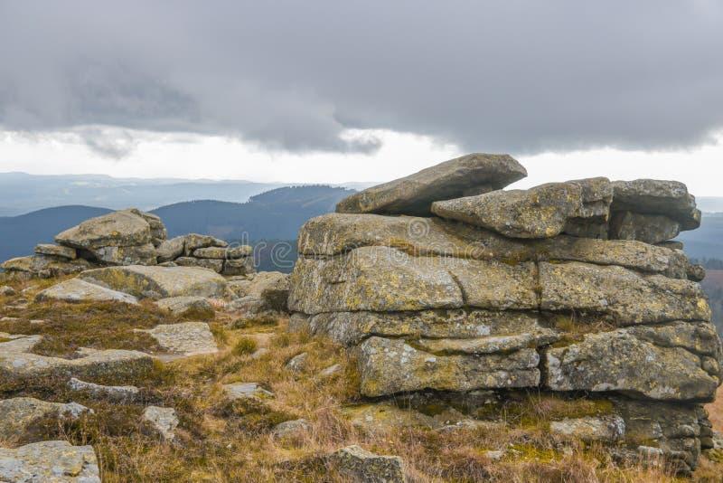 Teufelskanzel στην κορυφή Brocken, Harz στοκ εικόνες