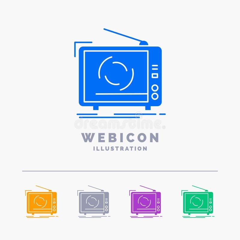 tevê, anúncio, propaganda, televisão, molde do ícone da Web do Glyph da cor do grupo 5 isolado no branco Ilustra??o do vetor ilustração stock