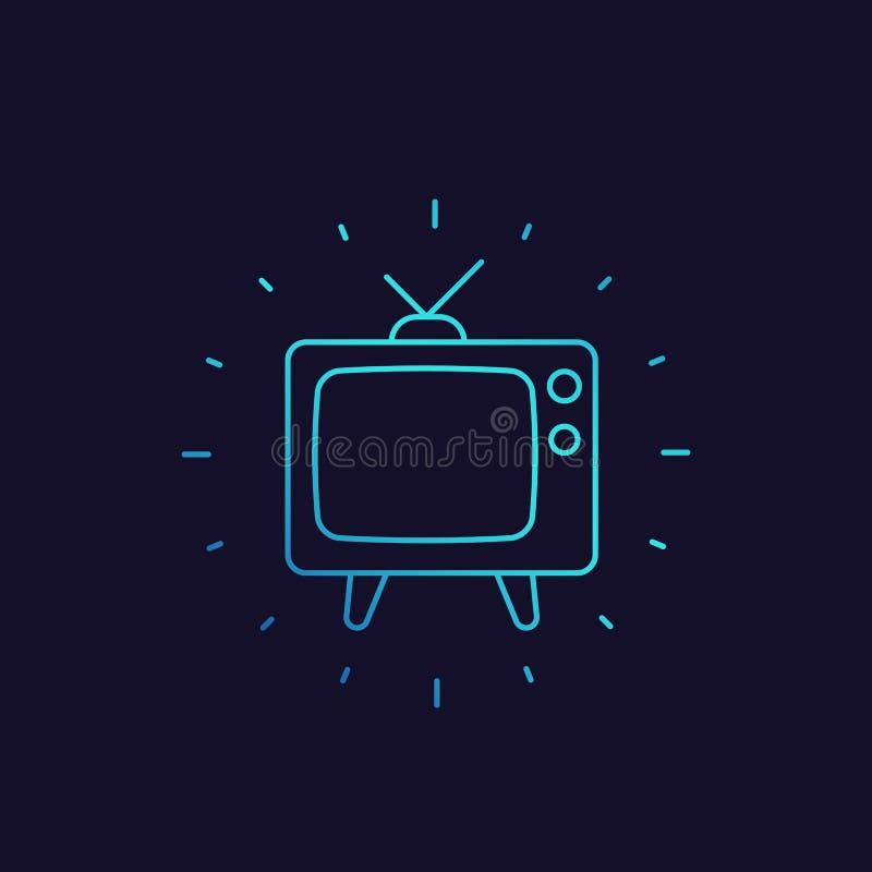 Tevê com antena, ícone linear da televisão velha ilustração stock