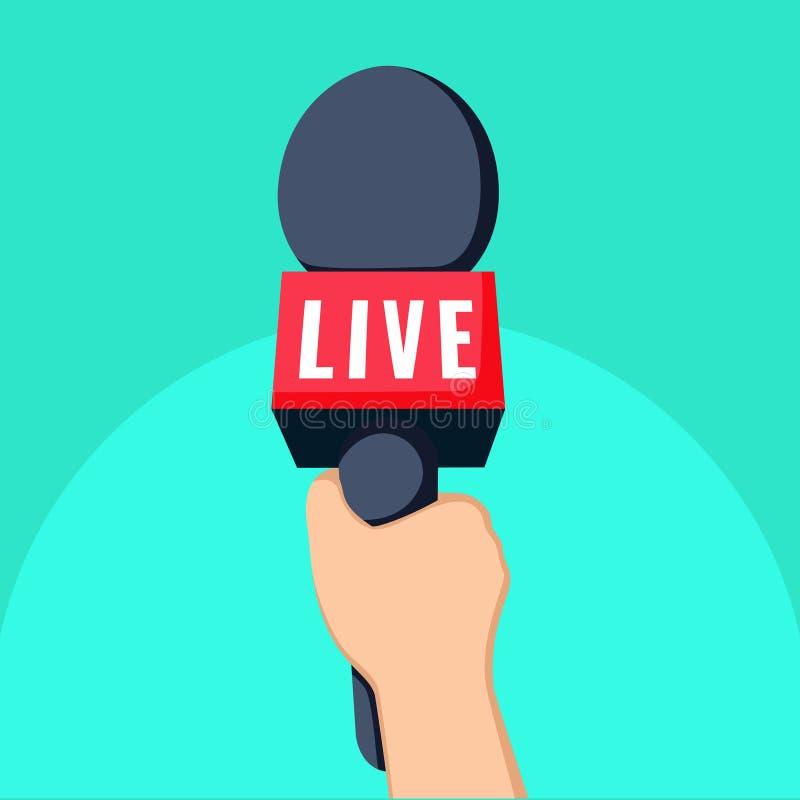 Tevê da notícia e ilustração viva dos desenhos animados do conceito da gravação mão e mic ilustração royalty free