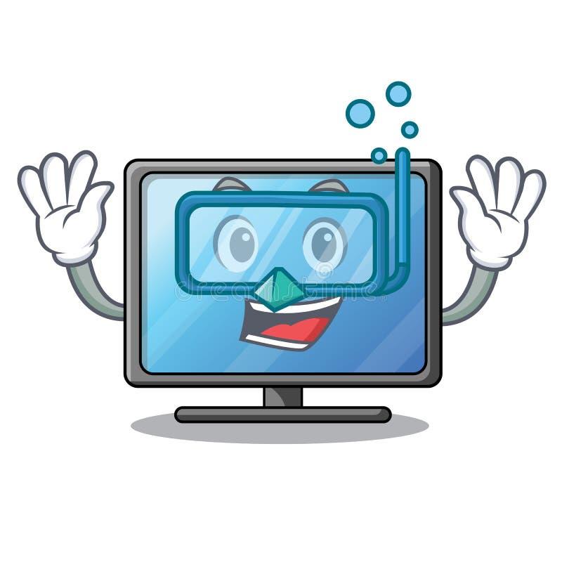 Tevê de mergulho do lcd acima da tabela de madeira dos desenhos animados ilustração do vetor