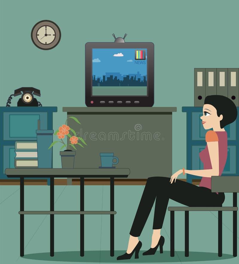 Tevê de observação na casa. ilustração royalty free