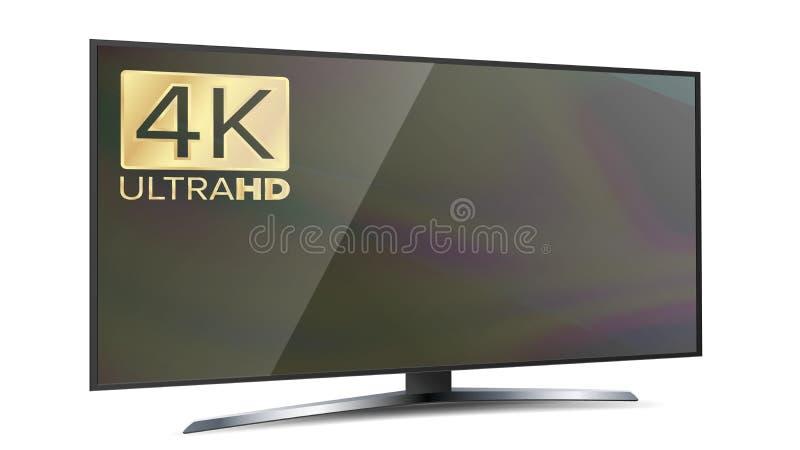 tevê de Smart da definição da tela 4K Ultra monitor de HD isolado na ilustração branca ilustração royalty free