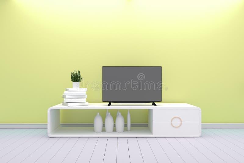 Tevê de Smart - trocista acima - estilo branco da sala de visitas do conceito - projeto moderno amarelo rendi??o 3d ilustração stock