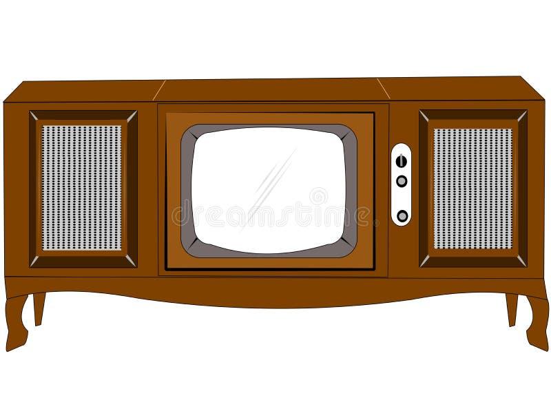 Tevê do console dos anos sessenta ilustração stock