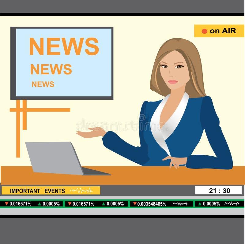 Tevê do encabeçamento da mulher da âncora da notícia ilustração stock