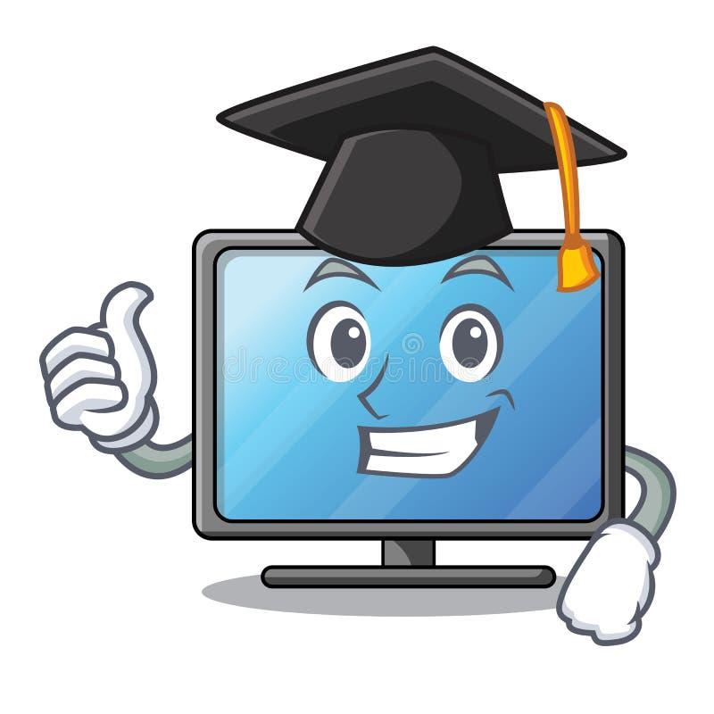 Tevê do lcd da graduação acima da tabela de madeira dos desenhos animados ilustração royalty free