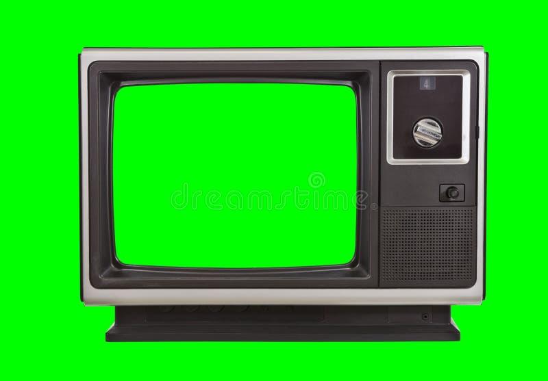 Tevê do vintage isolada com fundo do verde do croma ilustração do vetor