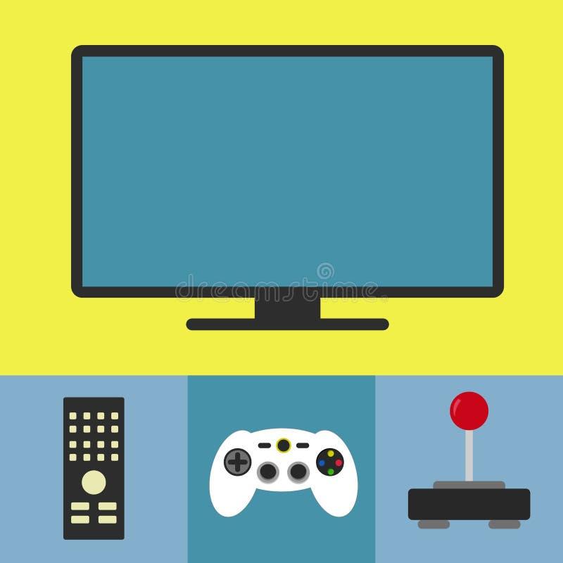 Tevê e videogame ilustração do vetor