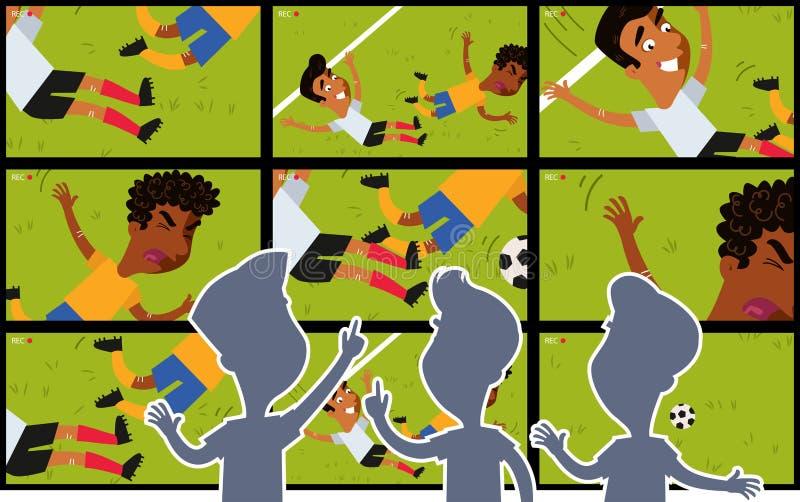 A tevê grande dos desenhos animados seleciona mostrar a repetição video do equipamento no campo de futebol com as silhuetas da ob ilustração stock