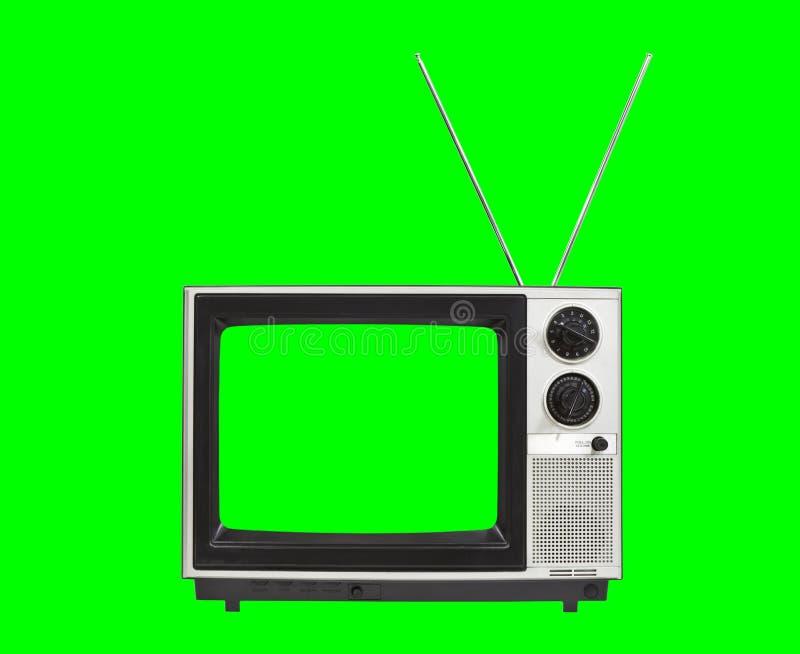 Tevê portátil do vintage com antenas e fundo verde do croma ilustração stock