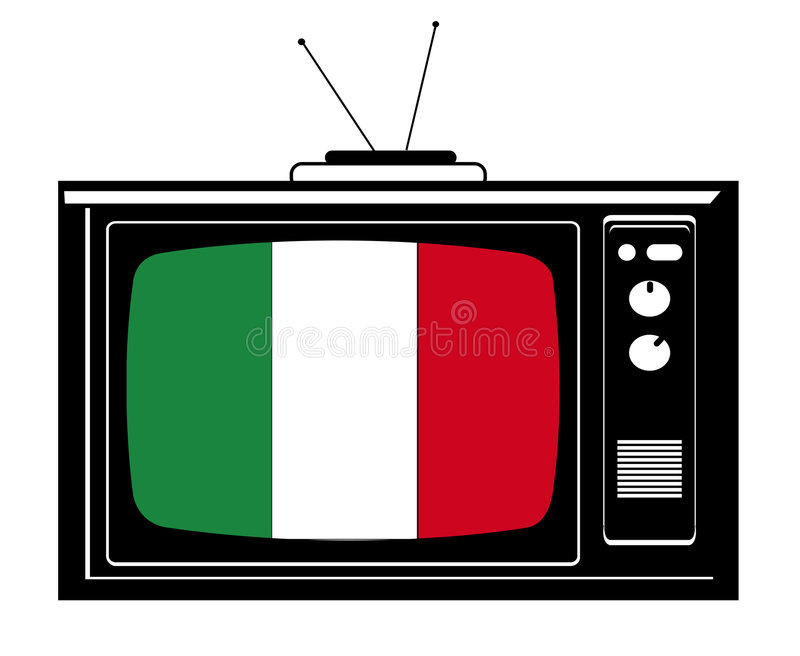 Tevê retro com a bandeira de Italy ilustração royalty free