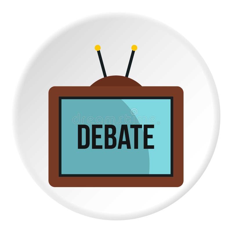 Tevê retro com palavra do debate no ícone da tela ilustração do vetor