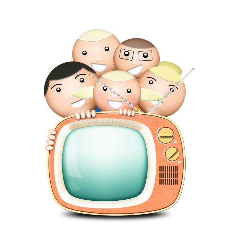 Tevê retro e família engraçada ilustração do vetor