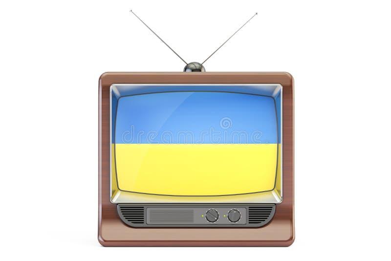 Tevê velha com a bandeira de Ucrânia Conceito ucraniano da televisão, 3D com referência a ilustração royalty free