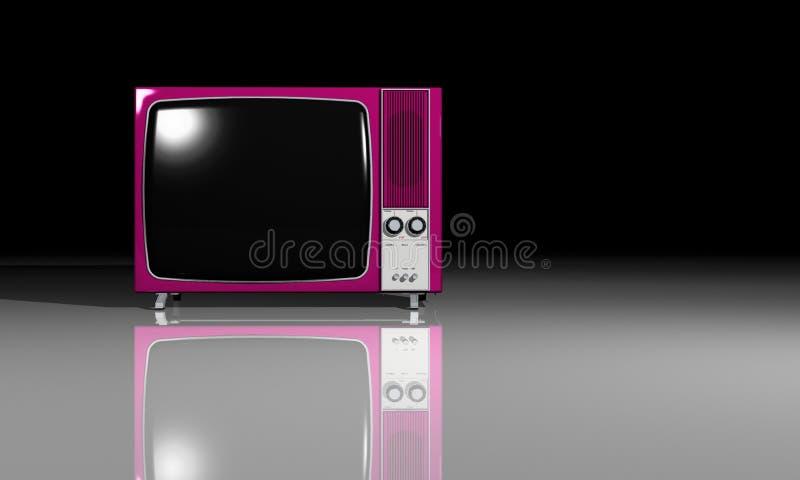 Tevê velha - televisão cor-de-rosa ilustração do vetor
