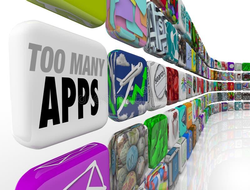 Teveel Apps-Surplus van de de Overbevoorradingsovervloed van Softwareprogramma's royalty-vrije illustratie