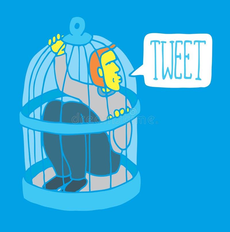 Teveel sociaal netwerk/humeur vector illustratie