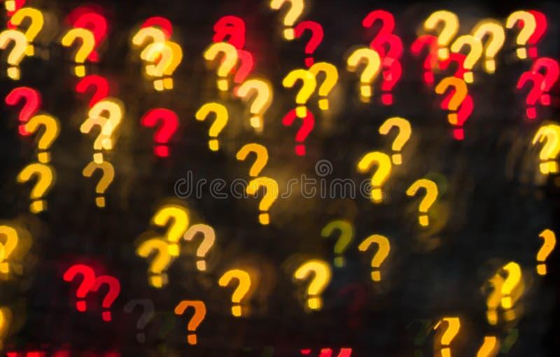 Teveel vragen Abstracte textuur als achtergrond van lichten in de vorm van vraagtekens royalty-vrije stock foto's