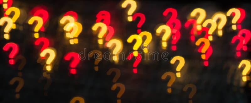 Teveel vragen Abstracte textuur als achtergrond van lichten in de vorm van vraagtekens stock foto