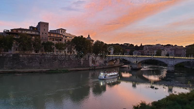 Tevere. Evening, panorama, vaticano, rome stock images