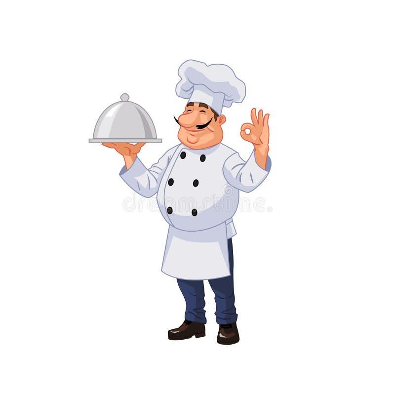 Tevreden chef-kok die de schotel dienen vector illustratie
