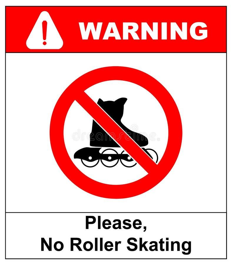Tevreden, Geen die rollerbladesteken in vector op witte verbodssticker wordt geïsoleerd royalty-vrije illustratie