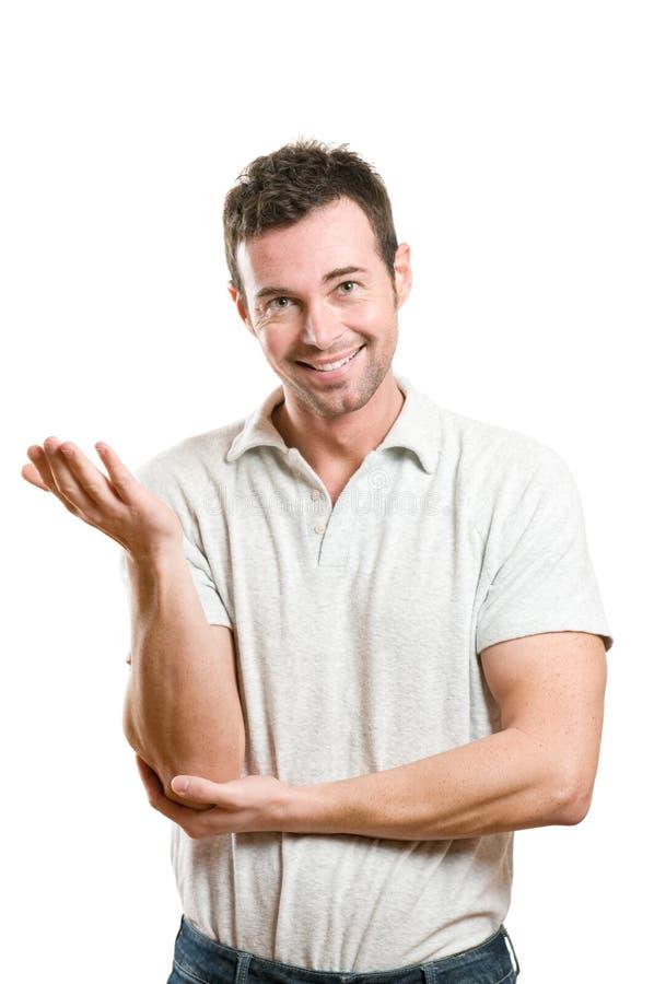 Tevreden glimlachende mens stock foto