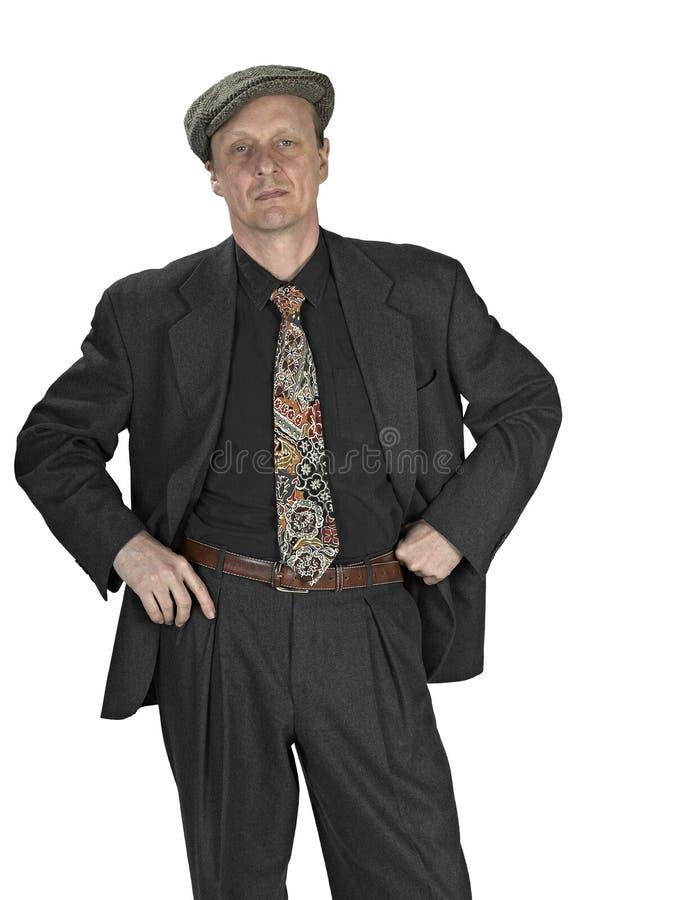 Tevreden hogere mens in een kostuum royalty-vrije stock afbeeldingen
