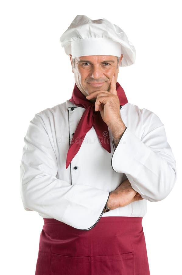 Tevreden professionele chef-kok royalty-vrije stock foto's