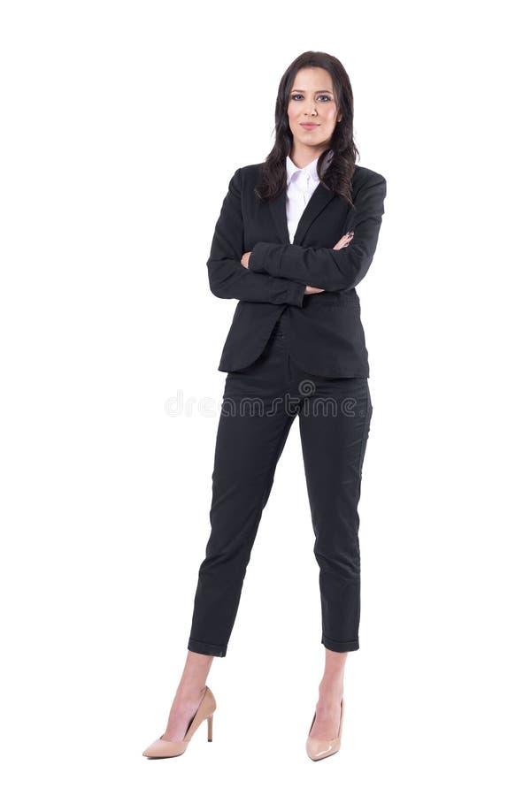 Tevreden zekere bedrijfsvrouwen succesvolle leider die en camera glimlachen bekijken stock afbeelding