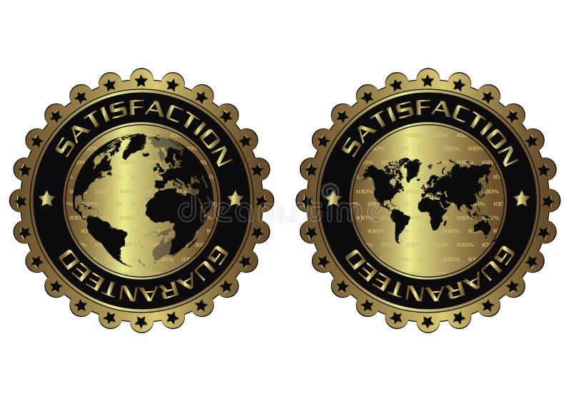 Tevredenheid gewaarborgde luxe gouden etiketten royalty-vrije illustratie
