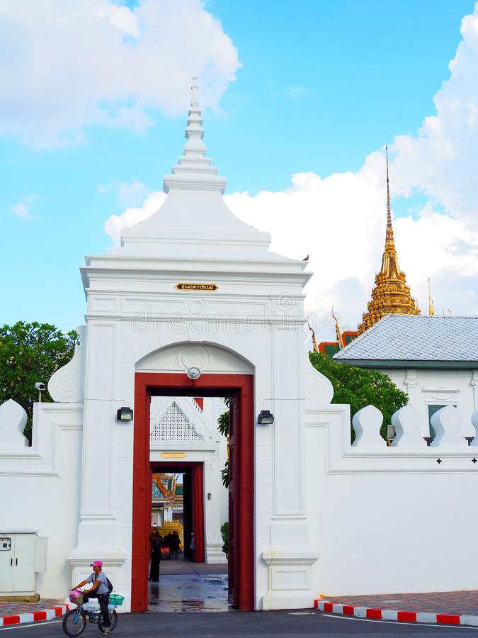 Tewa Phirom grand palace gate opened, with officials preparing funeral stock image
