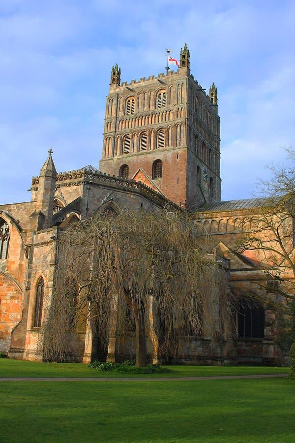 Tewkesbury修道院,英国,清早场面 库存照片