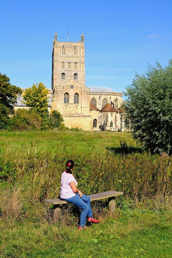 tewkesbury abbey fotografering för bildbyråer