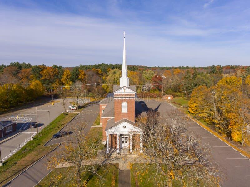 Tewksbury Congregational Church, Tewksbury, MA, USA. Tewksbury Congregational Church aerial view in historic town center in fall, Tewksbury, Massachusetts, MA royalty free stock photo