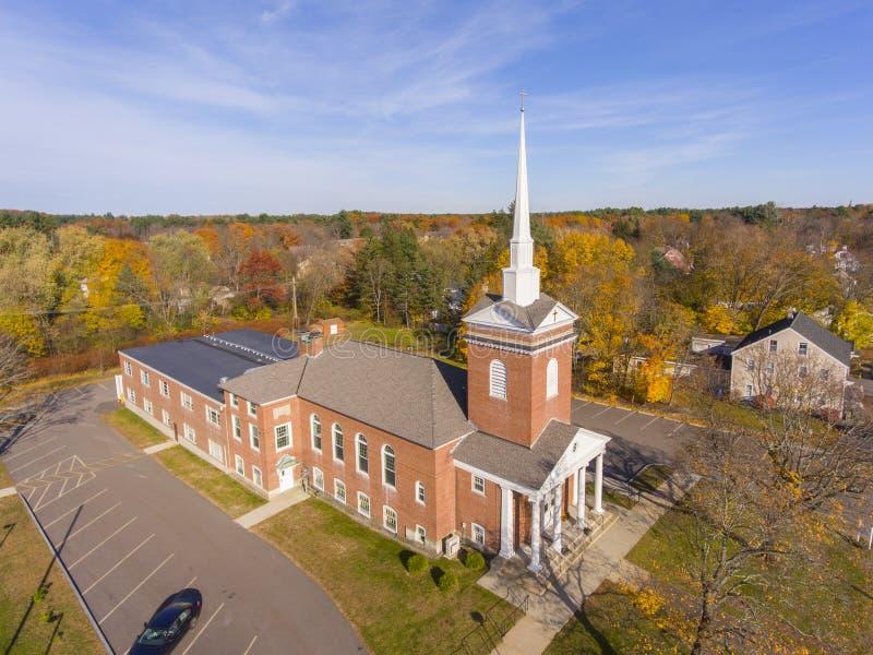Tewksbury Congregational Church, Tewksbury, MA, USA. Tewksbury Congregational Church aerial view in historic town center in fall, Tewksbury, Massachusetts, MA stock image
