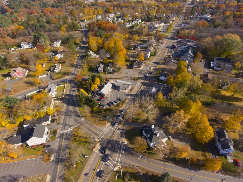 Tewksbury town center aerial view, MA, USA. Tewksbury historic town center aerial view on Main Street in fall, Tewksbury, Massachusetts, MA, USA royalty free stock photography