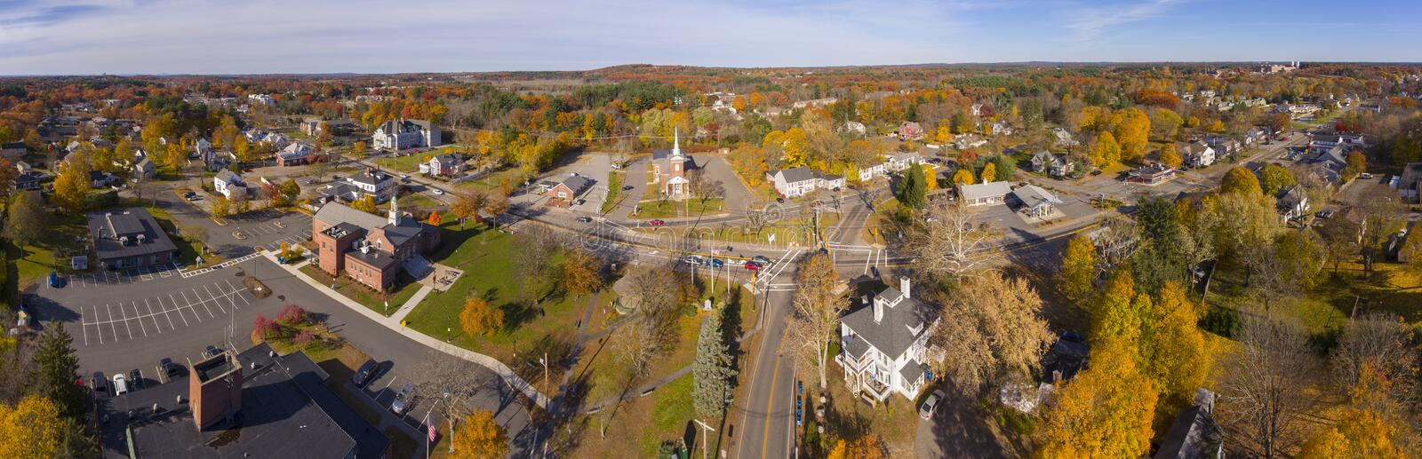 Tewksbury town center aerial view, MA, USA. Tewksbury historic town center aerial view panorama on Main Street in fall, Tewksbury, Massachusetts, MA, USA royalty free stock images