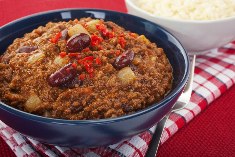 Tex- Mex Chilli With Beans And White Rice Stock Photos