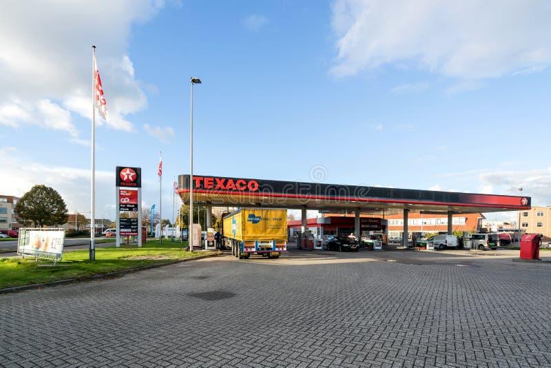 Texaco benzinestation in Sneek, Nederland royalty-vrije stock afbeeldingen