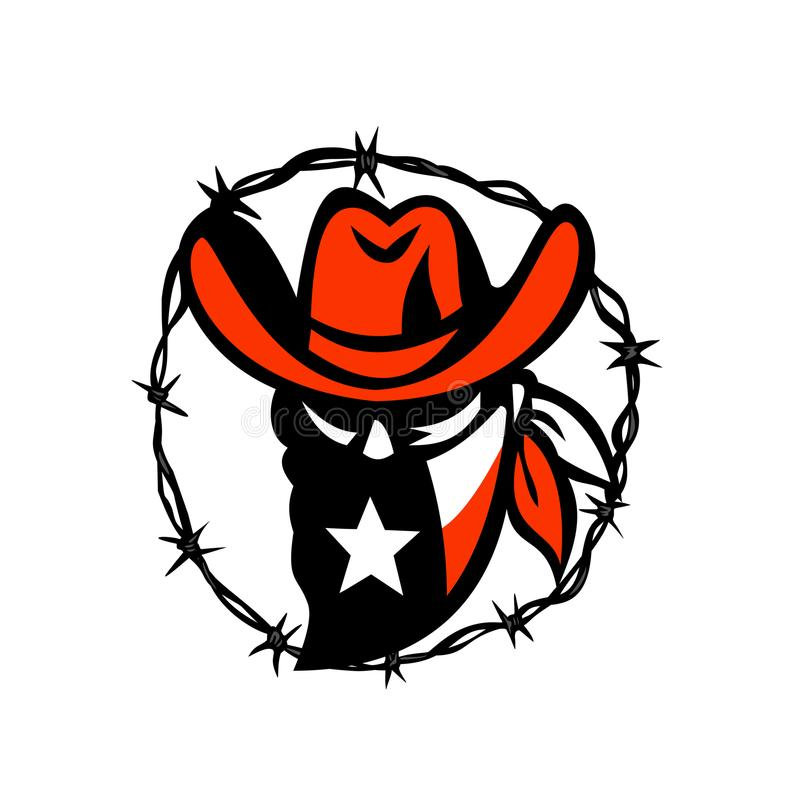 Texan Outlaw Texas Flag Barb Wire Icon. Icon style illustration of a Texan outlaw or bandit wearing a mask with Texas flag framed with a circular barb wire on stock illustration